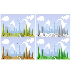 Landscape in four seasons vector image vector image