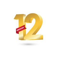 12 year anniversary template design vector