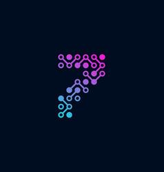 7 circuit digital number logo icon design vector