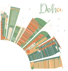 Abstract Doha Skyline with Color Skyscrapers vector