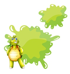 An angry turtle with empty template at the back vector