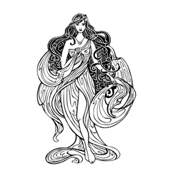 Art Nouveau styled woman vector image