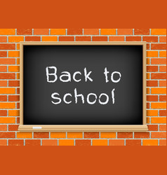 Back to school blackboard brick vector