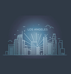 Banner of los angeles city in flat line trendy vector