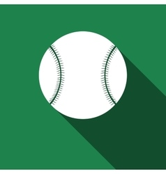 Baseball ball icon with long shadow vector image