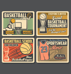 Basketball sport game court store and cup vector