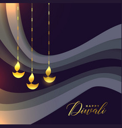 beautiful happy diwali greeting with golden diya vector image
