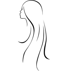 beautiful woman head - black line drawing vector image