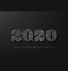 black glitter 2020 on a black background happy vector image