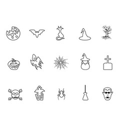 black halloween outline icons set vector image