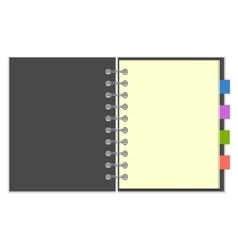 Blank grey spiral notebook with colorful bookmarks vector image
