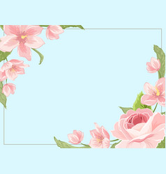 Border frame template corners rose sakura magnolia vector