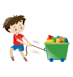 Boy in red shirt pulling toys vector