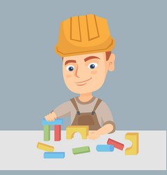 boy playing in the builder with building cubes toy vector image
