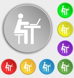 Businessman working on computer icon sign Symbol vector image