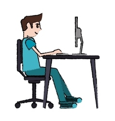cartoon man sitting using laptop on desk design vector image