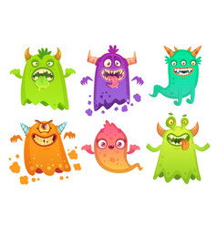 Cartoon monster ghost angry scary monsters mascot vector