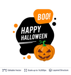carved pumpkin jack lantern and halloween text vector image