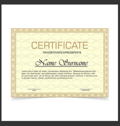 certificate template with yellow designe borders vector image