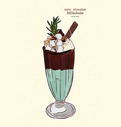 chocolate - mint milkshake hand draw sketch vector image