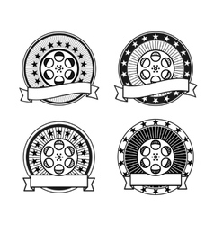 Cinema reel black and white retro stamps vector