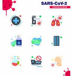 corona virus disease 9 flat color icon pack suck vector image