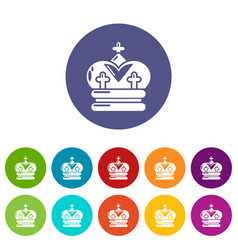 crown icons set color vector image