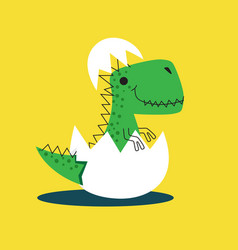 Cute dinosaur hatching from egg dino drawn vector