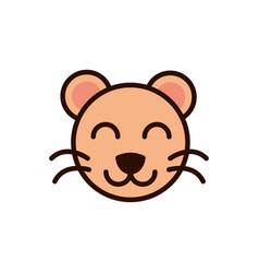 cute face tiger animal cartoon icon vector image