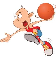 Cute little boy basketball player vector