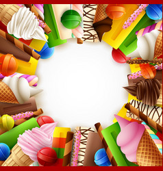 different sweet food frame vector image