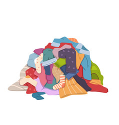 Dirty clothes pile messy laundry heap vector