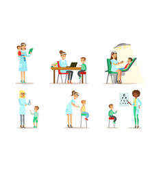 Doctor doing medical examination and vaccination vector