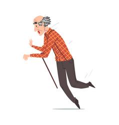 Elderly man falling down on floor retired vector