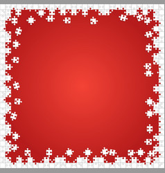 Frame white puzzles pieces red - jigsaw vector