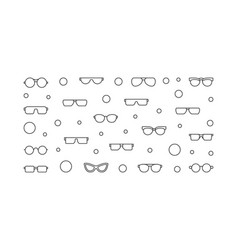 Glasses horizontal outline or vector