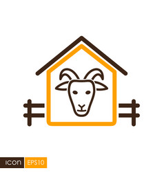 Goat house icon vector