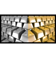 Gold and silver bars vector image