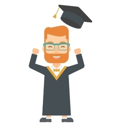 Graduate throwing up his hat vector