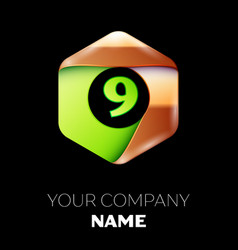 green number nine logo in golden-green hexagonal vector image