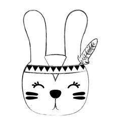 Grunge cute rabbit head animal with feathers vector