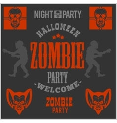 Halloween party poster with zombie head vector image