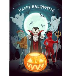 halloween pumpkin vampire and devil ghosts vector image