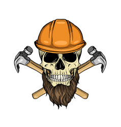 Hand drawn sketch color skull vector