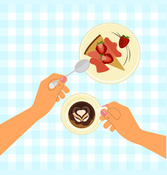 hands holding a cup vector image