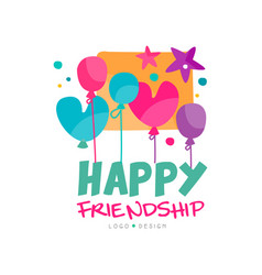 Happy friendship logo with colorful balloons and vector