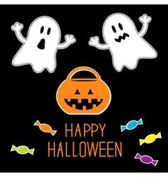 Happy halloween ghosts pumpkin candies card vector