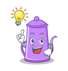 Have ana idea purple teapot character cartoon vector