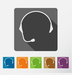 Headphone square icons set of support with long vector