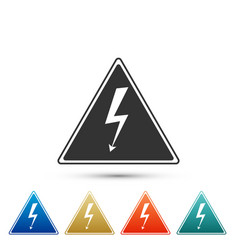 high voltage sign icon isolated danger symbol vector image